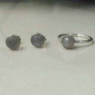 Pandora June Droplet Ring & Earrings (Grey Moonstone)