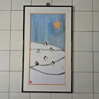 Chinese painting 7 🐧 in Snow with frame size 83x47cm perfect
