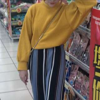 薑黃色燈籠袖蝙蝠袖 長袖上衣