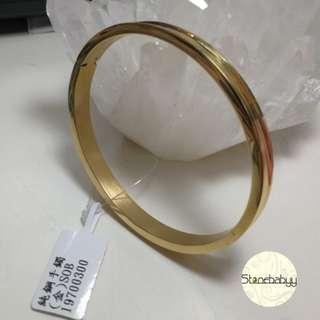 316L Steel Jewellery 316L純鋼手鈪首飾(孤面,內圍6cm) 金色