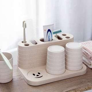 ★☆預購商品☆★情侶 一家三口 漱口杯 牙刷架 套組 牙膏 收纳架 置物架