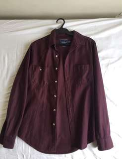 Topman Maroon Long sleeve Polo