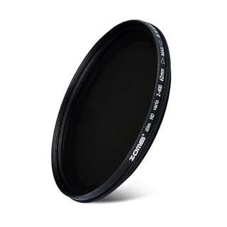 ZOMEI Slim 62 mm ND2-ND400 Adjustabel Vario Variable Neutral Density Lens Filter -- 684