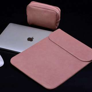 Rose PU Leather Macbook Laptop Sleeve with Extra Pocket + Matching Pouch