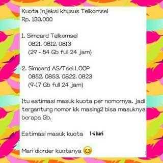 Kuota Injeksi Telkomsel 9 - 54 Gb, full 24 jam