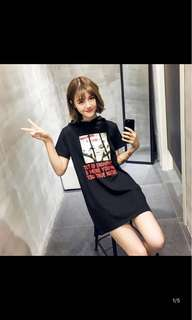 [P.O] Ulzzang T Shirt Hoodie Dress