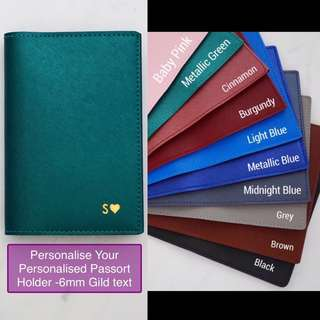 LM004- Metallic Green Customised Personalised NAME Passport Holder Personalized High quality PU Leather Passport Cover Passport Case - Made to Order- 6mm Gold Text - Max 8 Caps