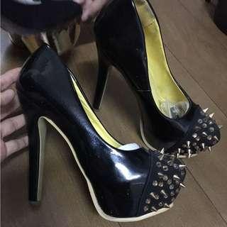 Black studded high heels size 39 hitam blink blink