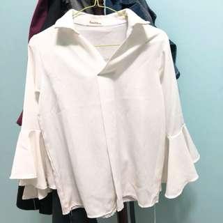 波浪花袖白色襯衫❤️#換季五折