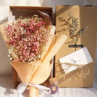 🌸「Exclusive Love」Romantic Korean Babybreath Bouquet ➕dried flower wishing bottle