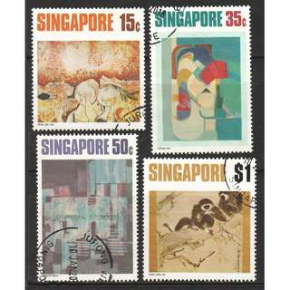 SINGAPORE 1972 CONTEMPORARY ART SERIES COMP. SET OF 4 STAMPS IN FINE USED CONDITION