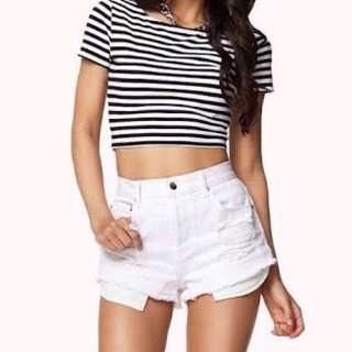 Forever 21 Black Striped Croptop #springcleaning