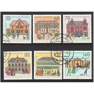 GERMANY 1991 POST OFFICES SEMI POSTAL COMP. SET OF 6 STAMPS SC#B714-719 IN FINE USED CONDITION