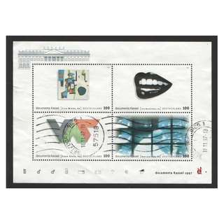 GERMANY 1997 DOCUMENTA KASSEL INT'L EXHIBITION OF MODERN ART SOUVENIR SHEET OF 4 STAMPS SC#1971 IN FINE USED CONDITION