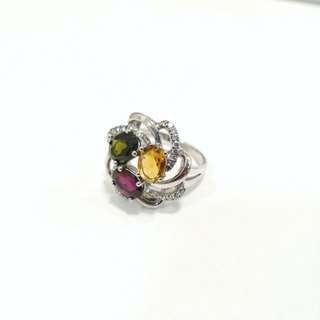 Genuine High Grade Tourmaline flower ring