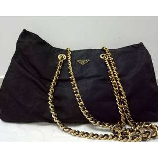 PRADA XL Vintage Nylon Chain Shoulder Bag