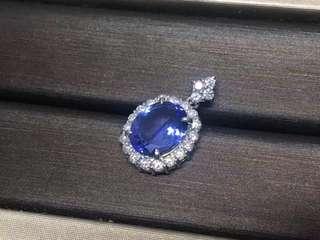 坦桑石鑽石吊墜