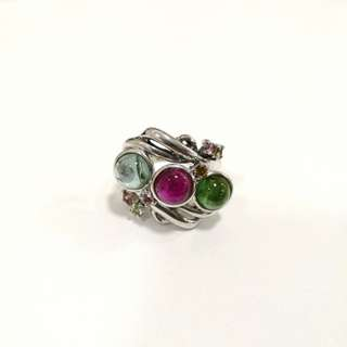 Genuine women elegant Tourmaline ring 红绿碧玺吊坠