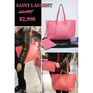 90% New YSL/ SAINT LAURENT 394195 粉紅色 牛皮 肩背袋 手袋 Shopping Tote Calfskin in Pink
