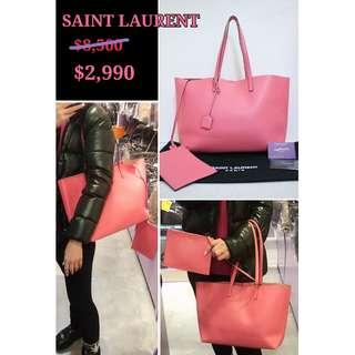 90% New YSL/ SAINT LAURENT 394195 粉紅色 牛皮 肩背袋 手袋 Shopping Tote Calfskin in Pink