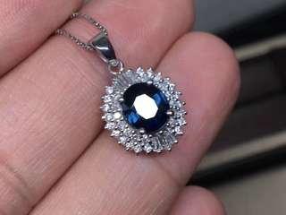 藍寶石鑽石吊墜(日本二手珠寶)