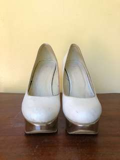 White Pumps with Gold Heels