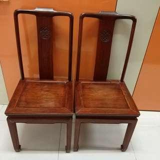 速賣 花梨木椅1对. ,不會松动.高42cm,