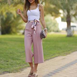 Top + belted loose pants