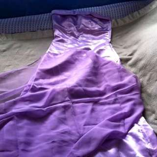 Violet tube gown with shawl