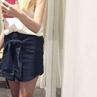Denim front - tie skirt Korean style