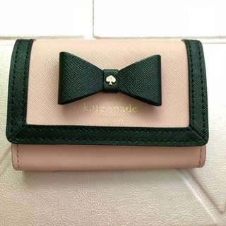 Kate Spade Pink and Black Ribbon Short Wallet 粉紅黑蝴蝶細銀包