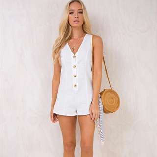 White linen playsuit princess Polly size 10