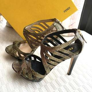 Fendi  python leather heel sandals shoes  @Size 37 #Made in Italy  ..