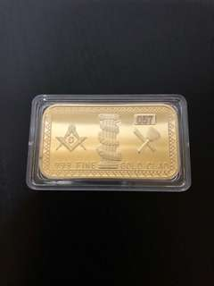 Freemason gold plated ingot with serial number