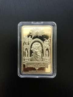 Illuminati Freemason gold plated ingot