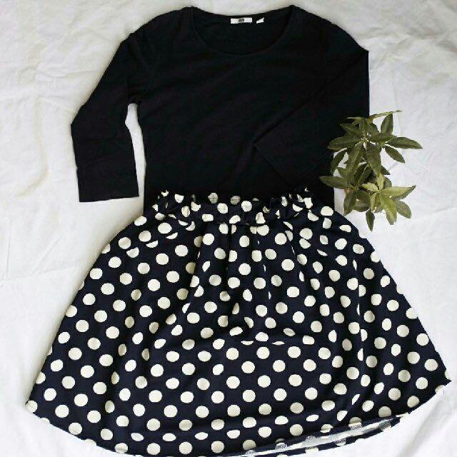 1 Set Uniqlo X Dot Flare Skirt