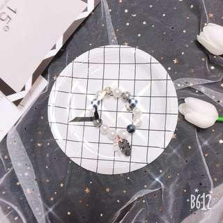 珍珠水鑽彈性手環手鍊
