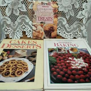 Cookbook Set Of 3 For Baking N Desserts.
