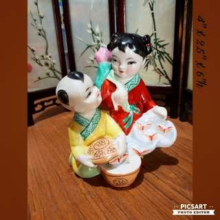 Vintage Hand-Painted Hand-Made Chinese Porcelain Figurines, Little Fairies with Magical Box. $15 offer! Sms 96337309.