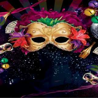 Mardi Gras Gold Mask Masquerade Carnival Champagne Sparkles Photobooth Backdrop