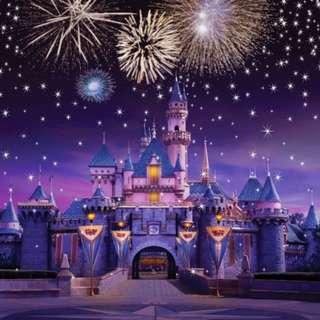 Night Castle Palace Sparkle Fireworks Sky Stars Flags Photobooth Backdrop