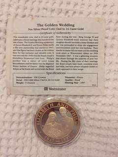 1997 Turks Caicos Golden Wedding 100 Crown 5oz SilverProof coin clad in 24 carat gold