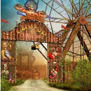 Carnival Circus Gate Entrance Ferris Wheel Photobooth Backdrop