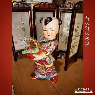Vintage Hand-Painted Hand-Made Chinese Porcelain Figurines, Fairy presenting precious gifts of gold and ru-yi to mean wealth and your desires granted. $28 offer! Sms 96337309.