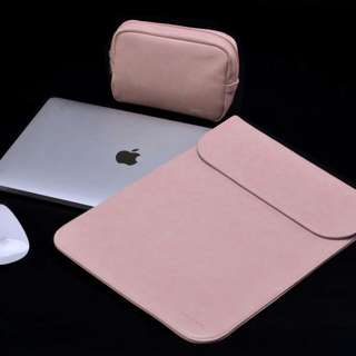 ✨INSTOCKS✨Blush Pink PU Leather Macbook Laptop Sleeve with Extra Pocket + Matching Pouch