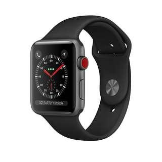 Apple Watch Series 3 GPS + Cellular 太空灰鋁金屬錶殼配黑色運動錶帶 42 毫米