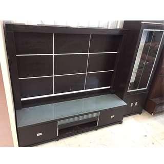 胡桃六尺電視TV櫃含背板+酒櫃