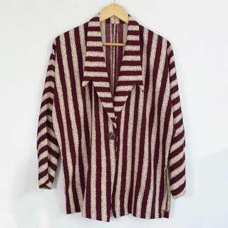 Vintage Maroon Striped Lightweight Blazer Jacket
