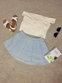 Off white criss cross off shoulder top and Acid Wash Denim Skater Skirt