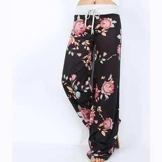 Floral Yoga Pants (Black)